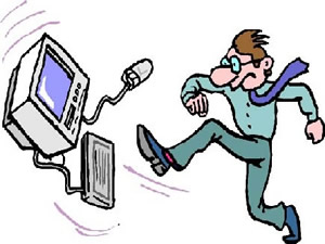 cartoon image of a man kicking his computer because he is upset with his website design company
