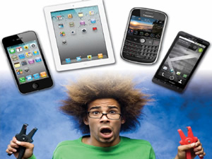 man with his hair sticking straight out with mobile devices above his head